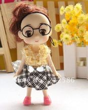 Free Shipping Wholesale 24pcs dress dolls with glasses for girls suitable for cell phone charm strap,bag charms, promotion gifts