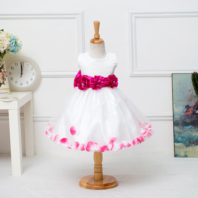 Floral Bow Ball Gown Princess Girls Dresses Summer Sweet Girl Sleeveless Wedding Party Dresses one Piece Tulle Dress Hot PE3<br><br>Aliexpress