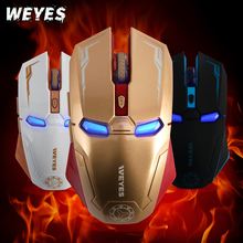Retail Box New Creative Iron Man Brand Gaming Mouse Blue LED Optical USB Wired Mouse Mice For Gamer Computer Laptop PC Gift