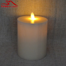 Ivory Flikering Flameless Pillar Candle with Realistic Candle Effect Dancing Flame Moving Wick Not Luminara But The Same Effect(China)