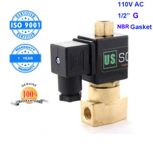 U. S. Solid 1/2 Brass Electric Solenoid Valve 110 V AC G Thread Normally Open Air Water NBR CE ISO Certificated<br><br>Aliexpress