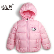 2017 Christmas Girls Winter Coat Hello Kitty Clothes Down Parka Outwear Hoody Xmas Children Hoodie 2-7 Years