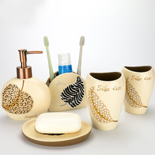 Creative Art Resin 5pcs/set Bathroom Accessories Set Europe Style Luxury Bath Set Toothbrush Holder Soap Dish(China)