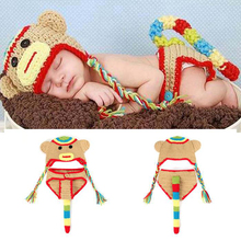 Lovely Sock Monkey Newborn BABY Photography Props Crochet Baby Monkey Hat Diaper Set Knitted Baby Coming Home outfits MZS-14023(China)