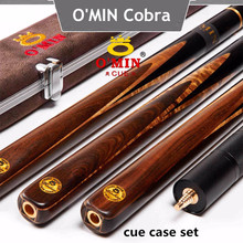 O'MIN Snooker Cue,Model Cobra, High Level, Cue Tip 9.5mm / 10mm, Length 145cm, 3/4 Jointed cues, Handmade Billiard Stick
