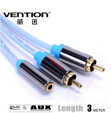 Vention! Standard 3.5MM Female to dual RCA Male Audio Cable 3M Adaptor Cable For DVD/CD/MP3/TV