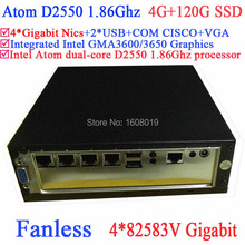 small form factor fanless Intel Atom dual core D2550 1.86Ghz 4*82583V Gigabit Nics Wake on LAN 4G RAM 120G SSD Windows Linux