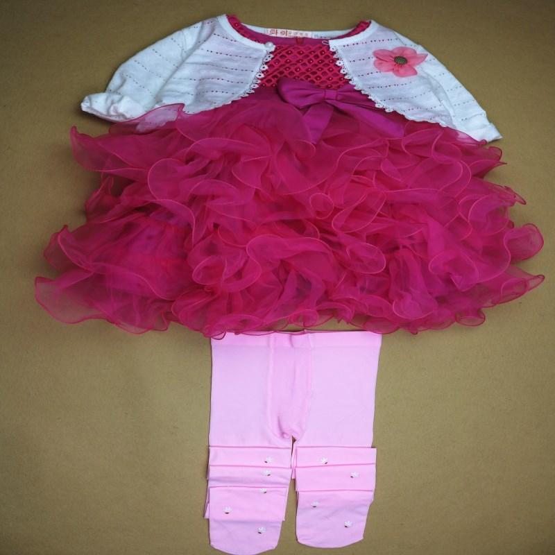 Girls Set Cardigan+Dress+Legging Girls Clothes<br>