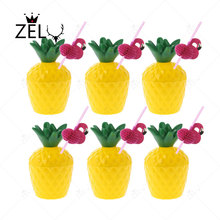 ZELU 6PCS Yellow Pineapple coconut cup with 3D Flamingo Paper Drinking Straws Inflatable Flamingo Pool Float Water bottle Hold