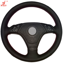 XUJI Black Leather Hand-stitched Car Steering Wheel Cover for BMW E36 E46 E39