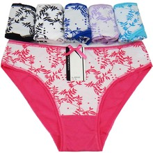 Buy Woman Underwear Cotton Sexy Panties Floral Leaf Printed Briefs Ladies Knickers Intimates Women (5pcs/lot) SIZE M L XL