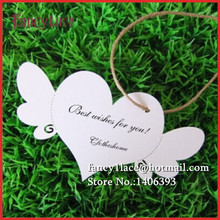 100pcs DIY Laser Cut Name Place Card Paper Wish Cards Hang Tag Card Wedding Favors Party Decoration love heart wings Book Mark