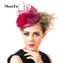 Ladies  Mini Top Hat Feather Fascinators Folding Chiffon Flower Headpieces with Net Veil Design SFCS02062 8pcs/lot