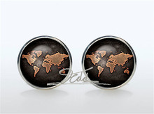 World Map Cufflinks Silve Cuff links men and women Accessories Antique Vintage brown Sleeve button Women Man Shirt cufflinks