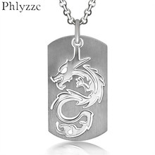 Vintage Laser Cut Chinese Dragon Pendant Necklace Mens Stainless Steel Dog Tag Soldier Necklace Best Friends Newyear Gift P074(China)