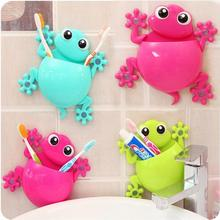 Lovely Cartoon Frog Model Toothbrush Toothpaste Holder, Sucker Type Toothbrush Holder Bathroom Tool Candy Color