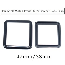 5 pcs / lot For Apple watch 38mm 42mm Best Quality Front Screen Lens Outer Glass Lens For watch Glass Replacement Part Black