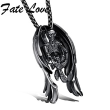 Classic Skeleton Skull Wings Style 316L Stainless Steel Golden Black Silver Necklaces Pendant With Chain For Men FL1099
