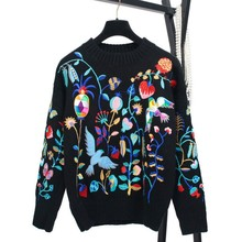 2017 Winter Embroidery Floral Sweater Quality And Chic Warm Office Lady Christmas Sweater Knitting Tops YC2998