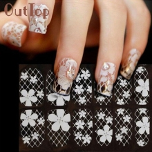 Waterproof White Lace Diamond Flower Stickers Nail Art Tips Women Nail Art Sticker New U0307