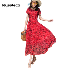 Ryseleco Bohemian Floral Print Summer Beach Vacation Short Sleeve Dresses Women Sweet A-Line O-Neck 2018 Casual Holiday Vestidos(China)