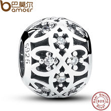 Original Beads Fit Charm Bracelet 925 Sterling Silver Intricate Lattice Openwork Ball With Clear CZ DIY Jewelry PAS060(China)