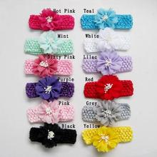 2017 children flowers for Hair accessories newborn crochet elastic headbands with fabric flowers Retail 12 colors(China)