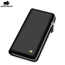BISON DENIM Brand Genuine Leather Men Clutch Bag Handmade Leather Wallet Card Holder Coin Purse Zipper Male Long Wallets n8195(China)