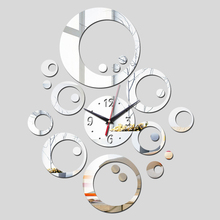 2016 promotion hot sale quartz watch wall clock modern home decoration diy antique acrylic mirror Wall Stickers free shipping