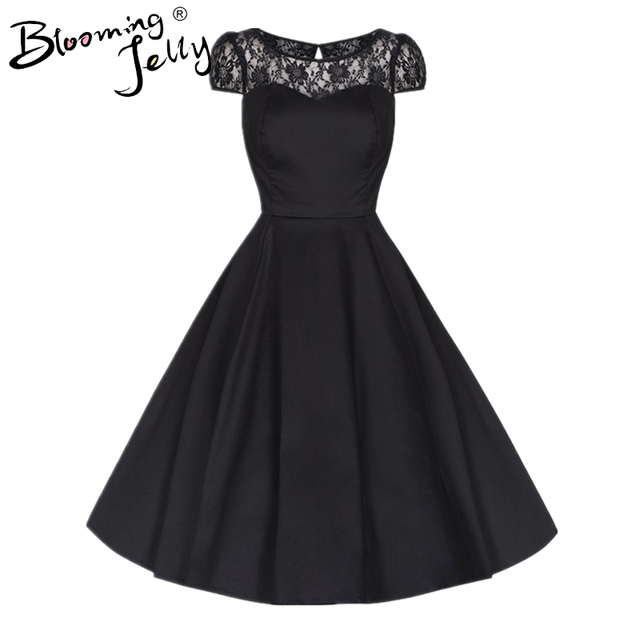 Blooming Jelly Black O Neck Dress Lace Patchwork Swing Dress Mid calf Vintage Fit and Flare