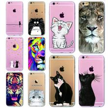 Phone Bag Case Cover for iPhone 4S 5 5S SE 6 6S 6Plus 6s Plus Thin Transparent Soft Cat Owl Rabbit Tiger Printed Phone Cover(China)