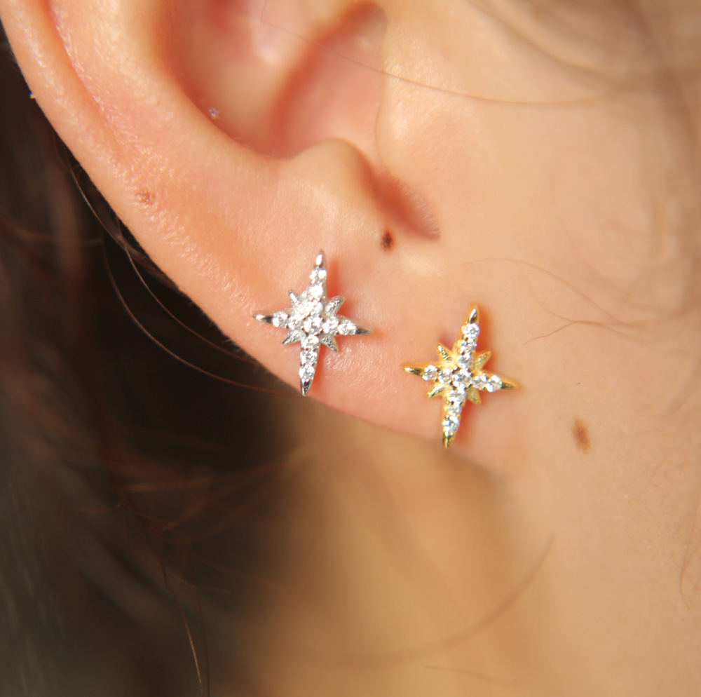 STERLING SILVER MINI NORTH STAR EARRINGS