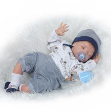 NPK Collection  New Arrival 55cm soft  Silicone limbs and cloth body Reborn dolls lifelike sleeping new born Baby Dolls