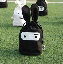Storage Bags Ninja Rabbit Objects Travel Pouch Handy 24*22cm Snack Many Facial Pouch Black And White(China)