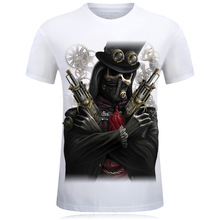 Fashion Skulls 3D T Shirt 2017 New Male Printed Pirate and sickle death T Shirt Mens-6XL Cotton T-Shirt for Short sleeve t-shirt
