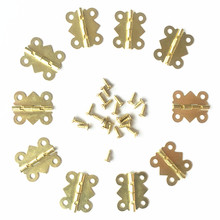 10pcs 20*17MM Mini Funiture hinges small box hinges Kitchen Cabinet Door Hinges Jewelry Boxes fittings 4 small holes Gold