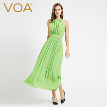 VOA 2017 summer light green sleeveless silk dress long slim fold beach dresses female A6638