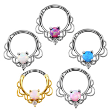 1pc Lacey Single Opal Stone Hinged Septum Clickers Titanium Shaft 16G Pierced Round Nose Rings Piercing Daith Rook Body Jewelry(China)