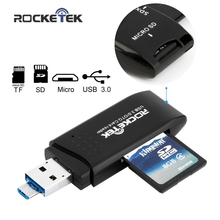 Rocketek USB 3.0 Memory Card Reader and OTG phone card reader 2 Slots Card Reader for SD, micro SD, SDXC, SDHC free shipping(China)