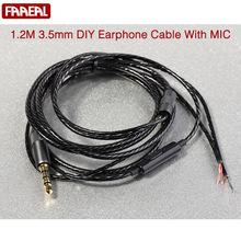 1.2m With Mic LC-OFC DIY Earphone Cable High Quality Replacement Cable Wire For Repair Upgrade Headphones Earphone