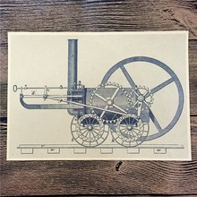 "Retro kraft paper poster about Train ""Steam machinery"" for Home Decor  A Poster Paper Graft Vintage Poster Wall Sticker"