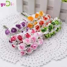 10pcs mini miniature handmade paper rose 1cm artificial bouquet wedding decoration DIY craft artificial flower wreath gift clip