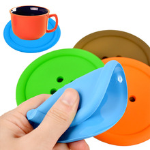 5 Pcs Silicone Cup mat Cute Colorful Button Cup Coaster Cup Cushion Holder Drink Cup Placemat Mat Pads Coffee Pad(China)