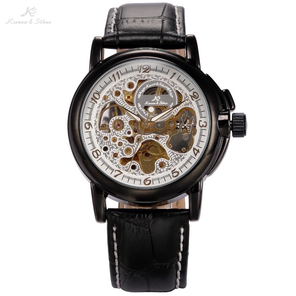 KS Brand Men Automatic Mechanical Black Leather Band Stainless Steel White Skeleton Dress relogio masculino Wrist Watch / KS035<br><br>Aliexpress