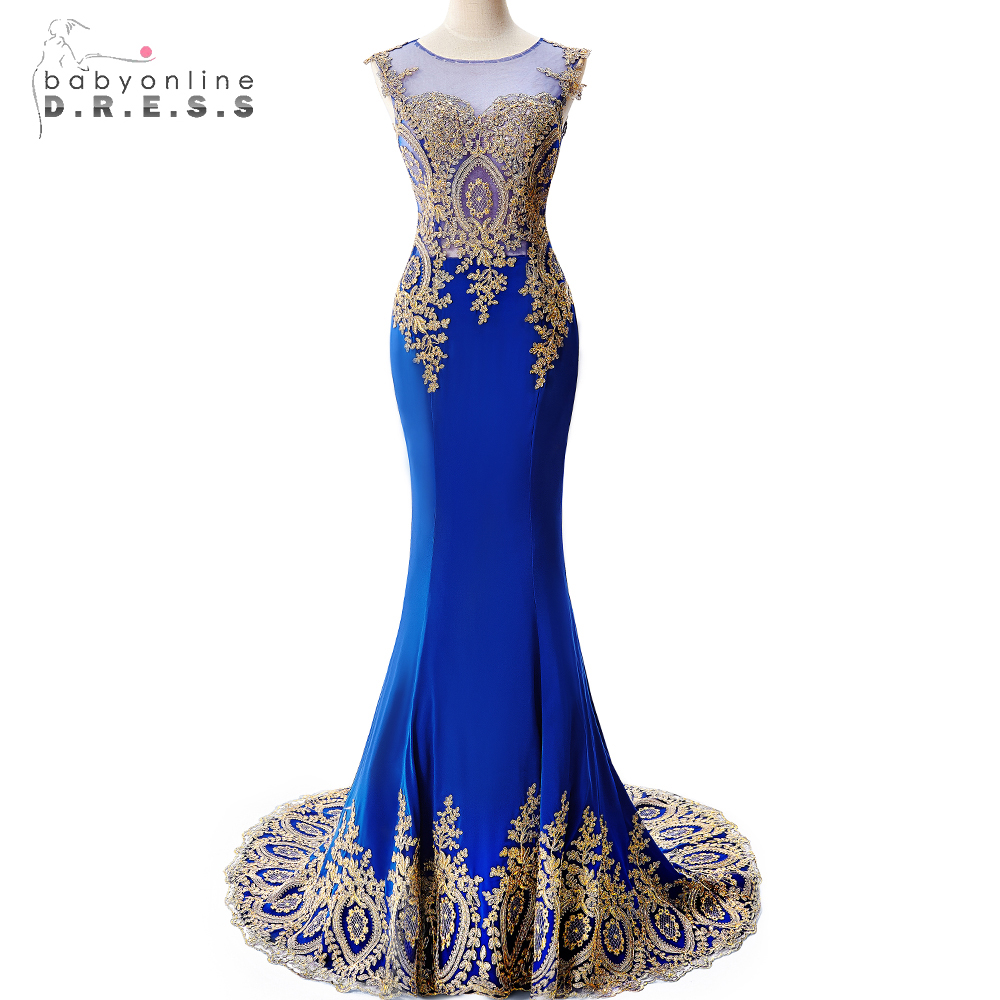 Real Photo Royal Blue Long Mermaid Evening Dresses 2019 Sheer Back Gold Applique Evening Gown Formal Dress Prom robe de soiree(China)