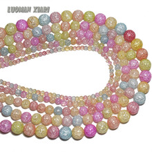 AAA+ Wholesale Colorful Crack Glass Crystal   Beads For Jewelry Making Stone DIY Bracelet Necklace 4mm 6mm 8mm 10mm 12mm 15.5''