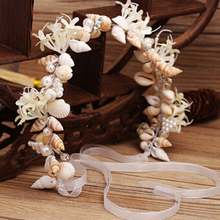 Promotion Seaside Romantic Fashion Shell Artificial Flower Luxury Wedding Bridal Crowns Headbands Tiara Rhinestone Hair Band