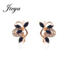 Romantic Flower Design Earrings Gold 585 Natural Stone Filled Rhinestones Girls Fashion Jewelry Unusual Black Hanging Earrings