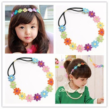 2017 New Fashion Kids Embroidered Flowers Headband Hair Accessories Headwear