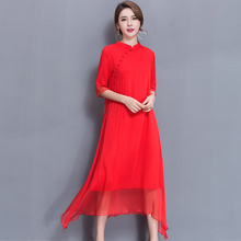 2017 Summer Women Long dress China National Wind Improved Cheongsam Silk Dresses Red Black 1158(China)